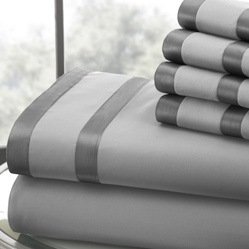 1000 Thread Count 6-piece Sheet Set w/ Double Satin Band Cal King Grey