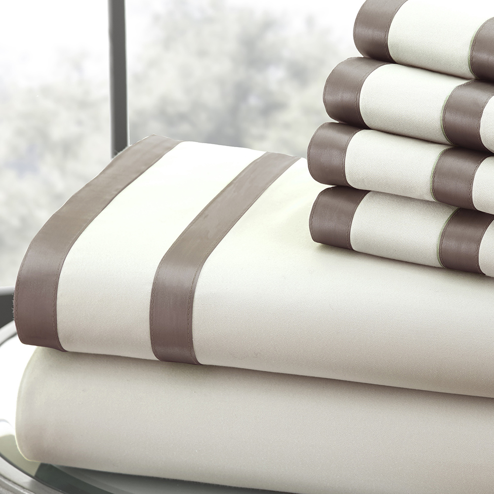 1000 Thread Count 6-piece Sheet Set w/ Double Satin Band Cal King Chocolate