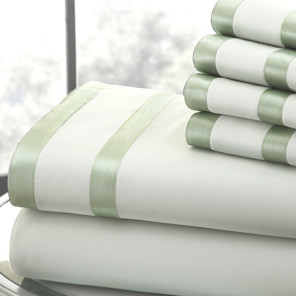 1000 Thread Count 6-piece Sheet Set w/ Double Satin Band Cal King Soft Jade