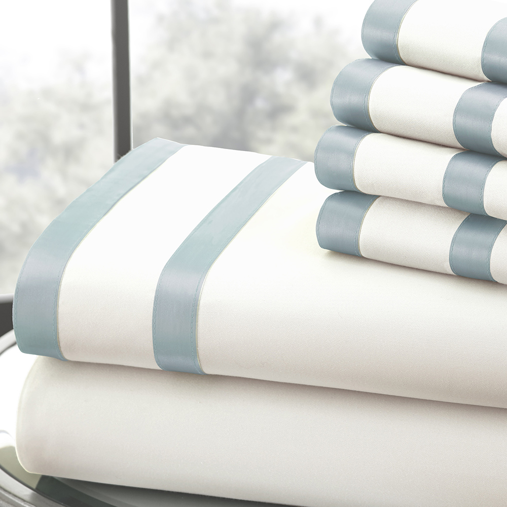 1000 Thread Count 6-piece Sheet Set w/ Double Satin Band Cal King Light Blue