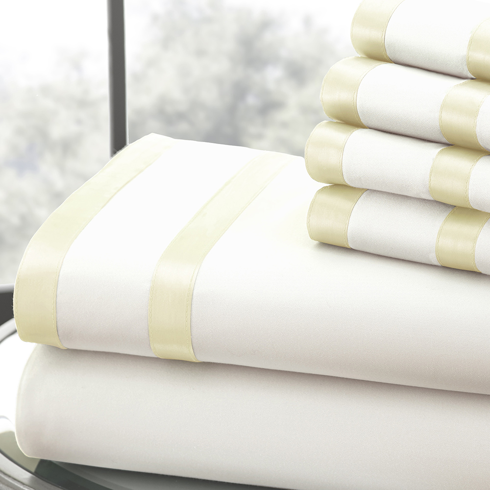 1000 Thread Count 6-piece Sheet Set w/ Double Satin Band Full Ivory